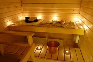 eine hergerichtete Sauna